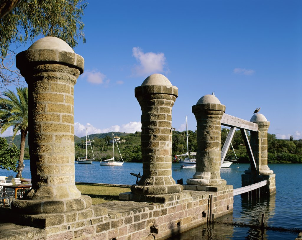 Stock Photo: 442-2944A Columns on the waterfront, Nelson's Dockyard, English Harbor, Antigua, Leeward Islands