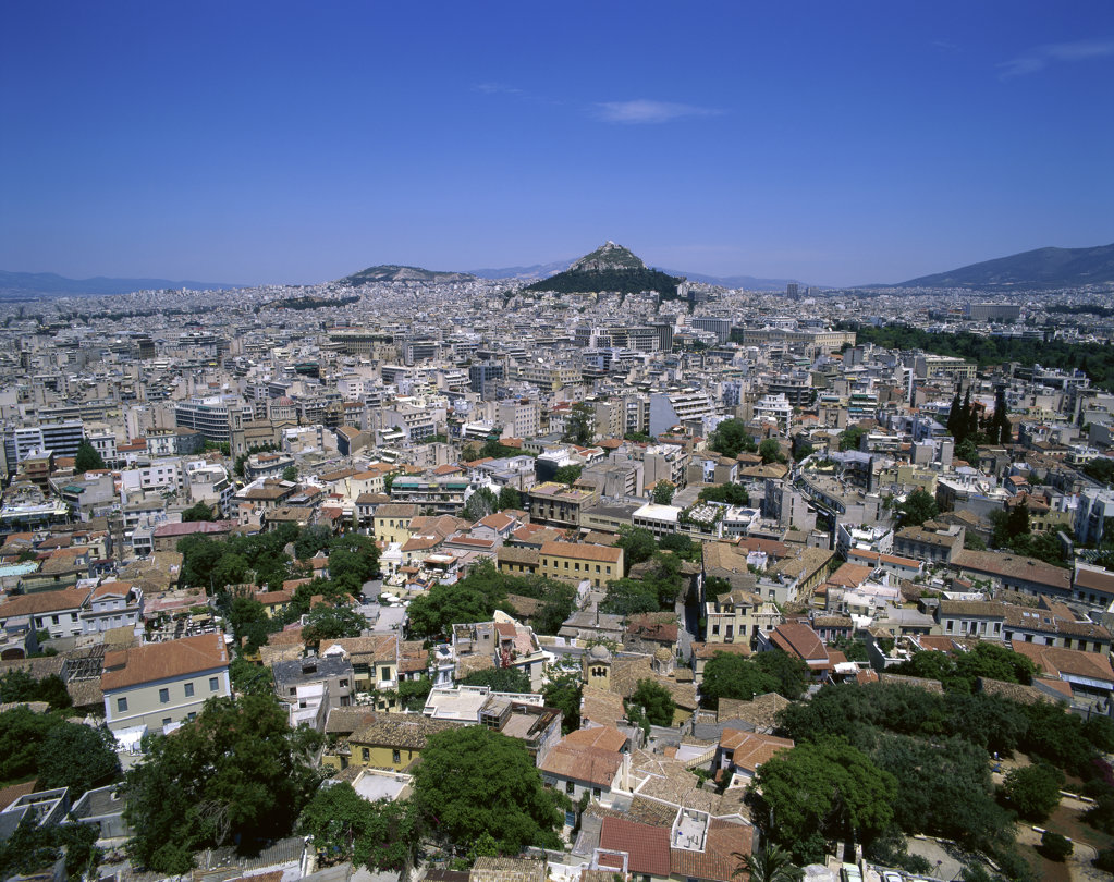 Stock Photo: 442-2978A Aerial view of buildings in a city, Athens, Greece