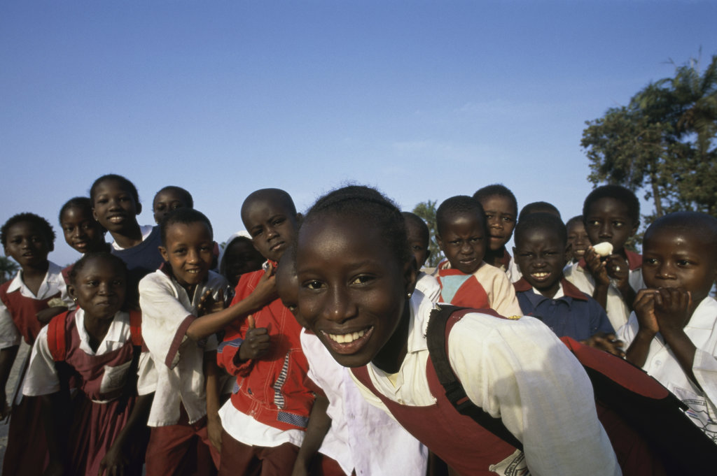 Stock Photo: 442-3472A Portrait of school children smiling, Banjul, Gambia