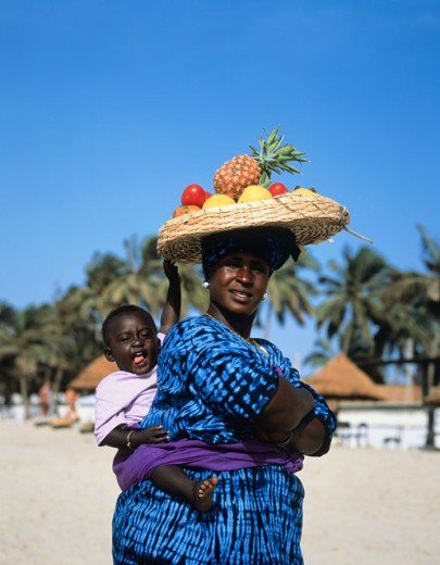 Portrait of a mother with her son, Banjul, Gambia : Stock Photo