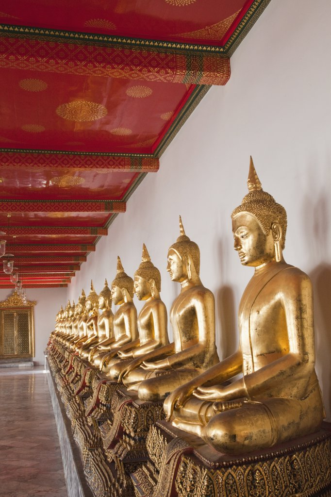 Stock Photo: 442-35350A Buddha statues in a temple, Wat Pho, Bangkok, Thailand