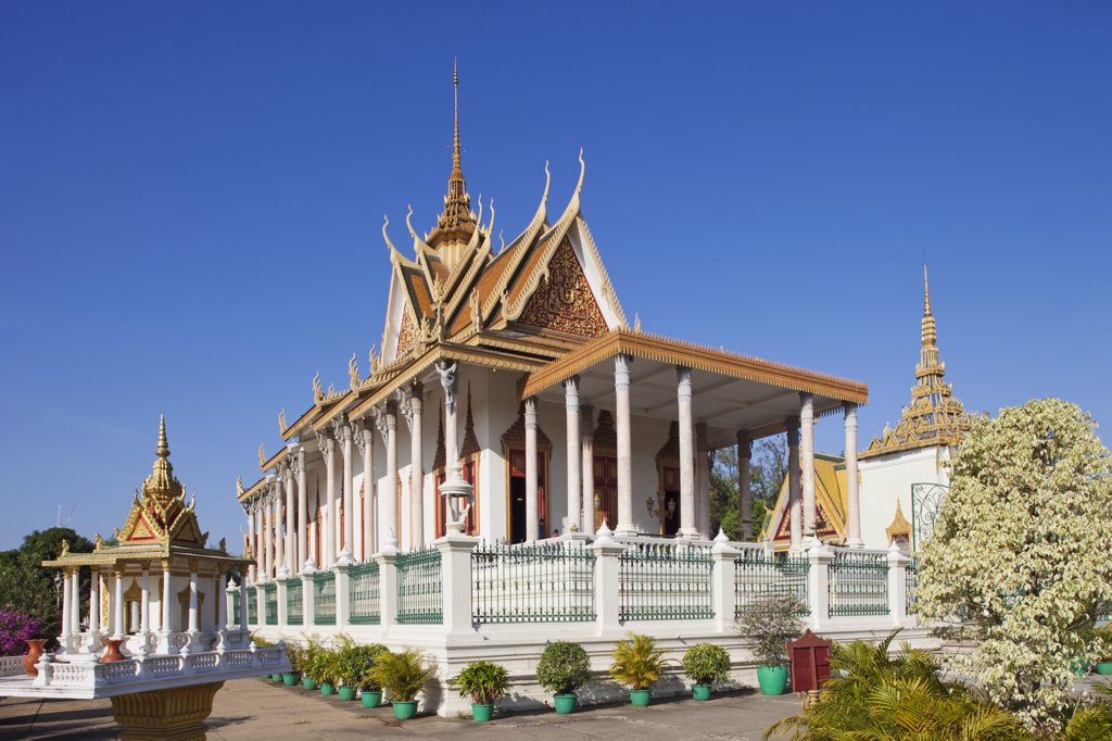 Stock Photo: 442-35354 Potted plant near a temple, Silver Pagoda, Royal Palace, Phnom Penh, Cambodia