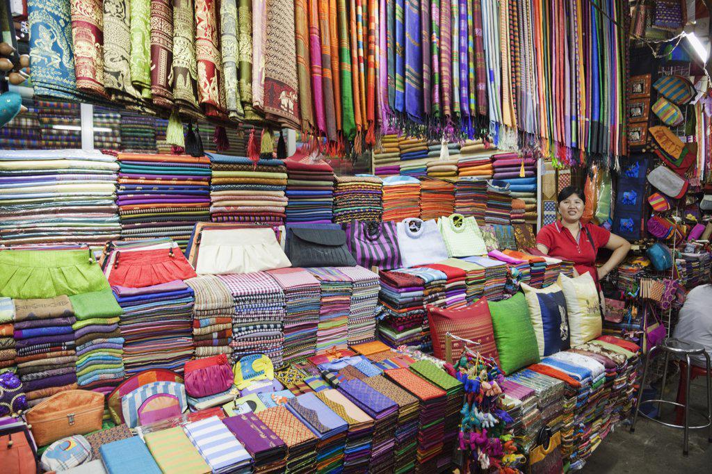 Material and silk shop, Phnom Penh, Cambodia : Stock Photo