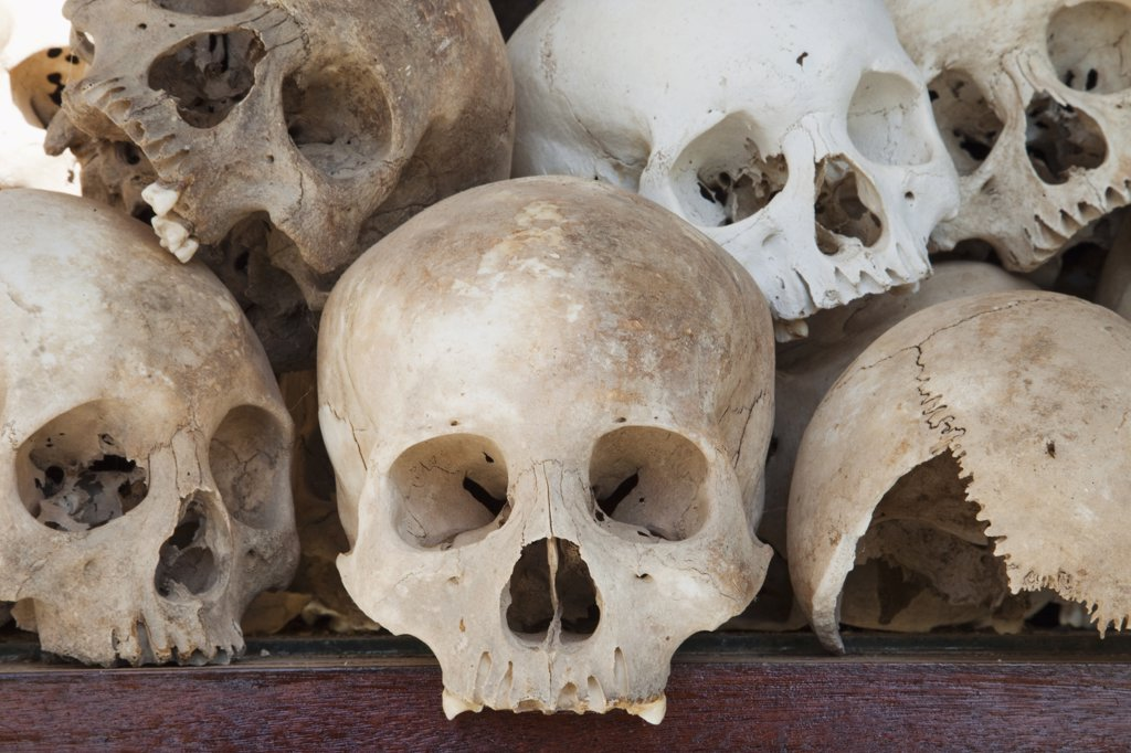 Displaying 8000 Skulls of the Victims Killed by the Khmer Rouge, Choeung Ek Genocide Museum, Phnom Penh, Cambodia : Stock Photo