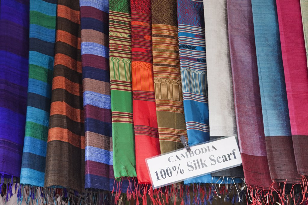 Details of silk scarves in a store, Siem Reap, Cambodia : Stock Photo