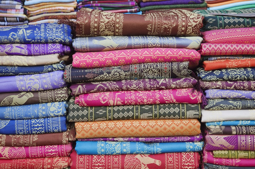 Detail of silk fabric, Siem Reap, Cambodia : Stock Photo