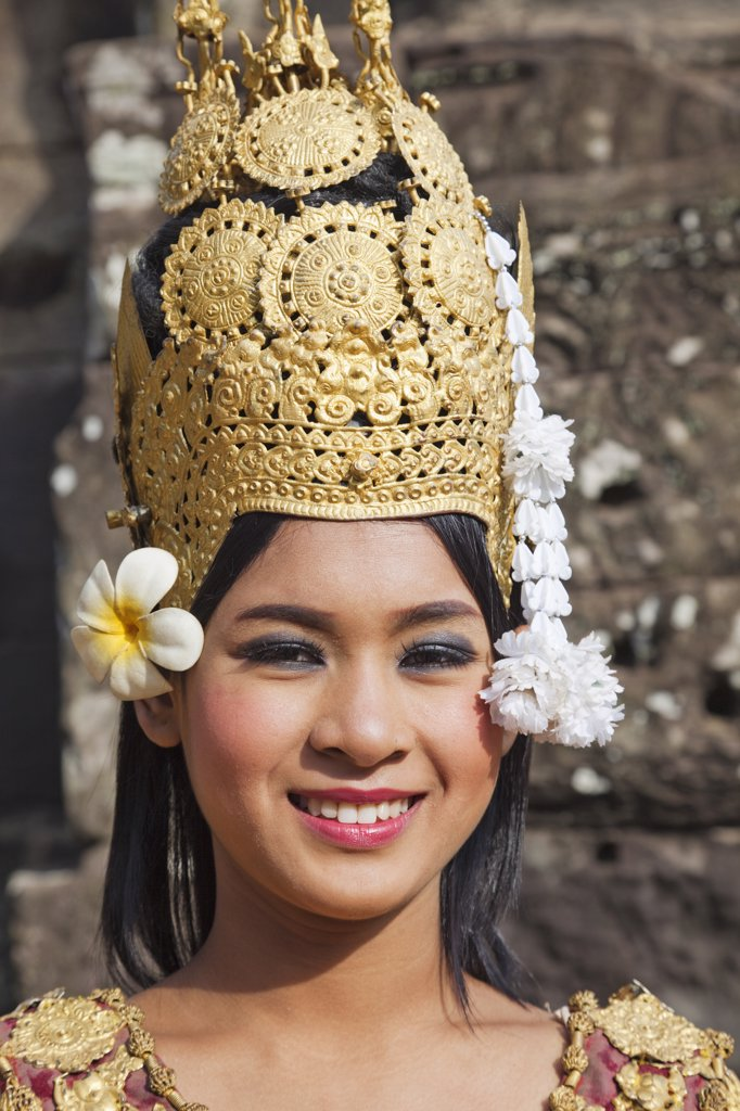 Portrait of an Aspara Dancer, Bayon Temple, Angkor Thom, Angkor, Siem Reap, Cambodia : Stock Photo