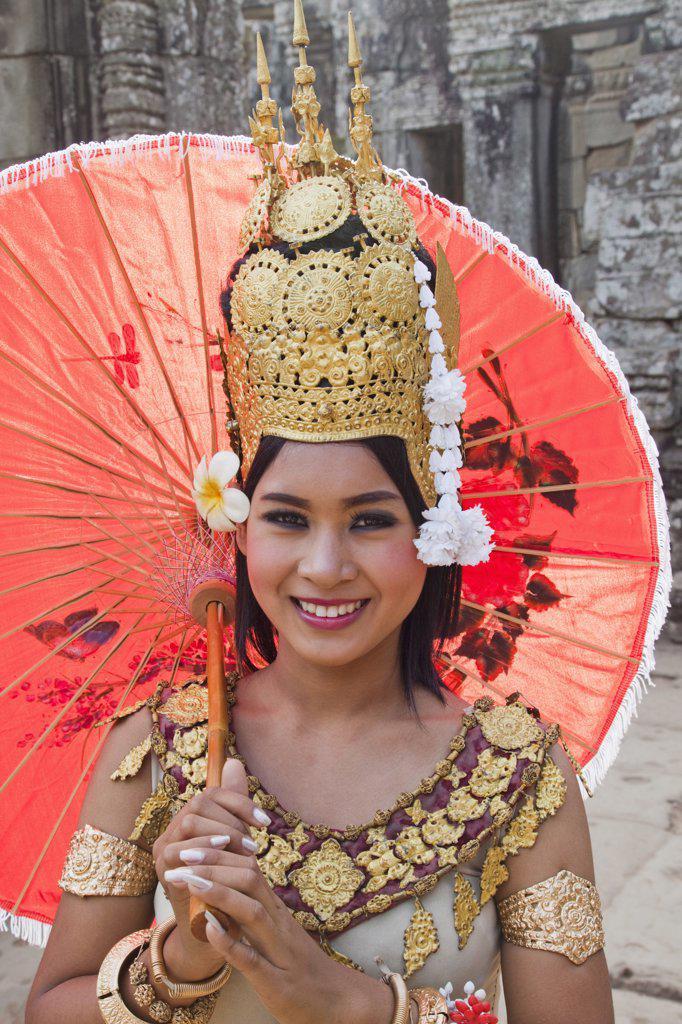 Stock Photo: 442-35381 Portrait of an Aspara Dancer, Bayon Temple, Angkor Thom, Angkor, Siem Reap, Cambodia