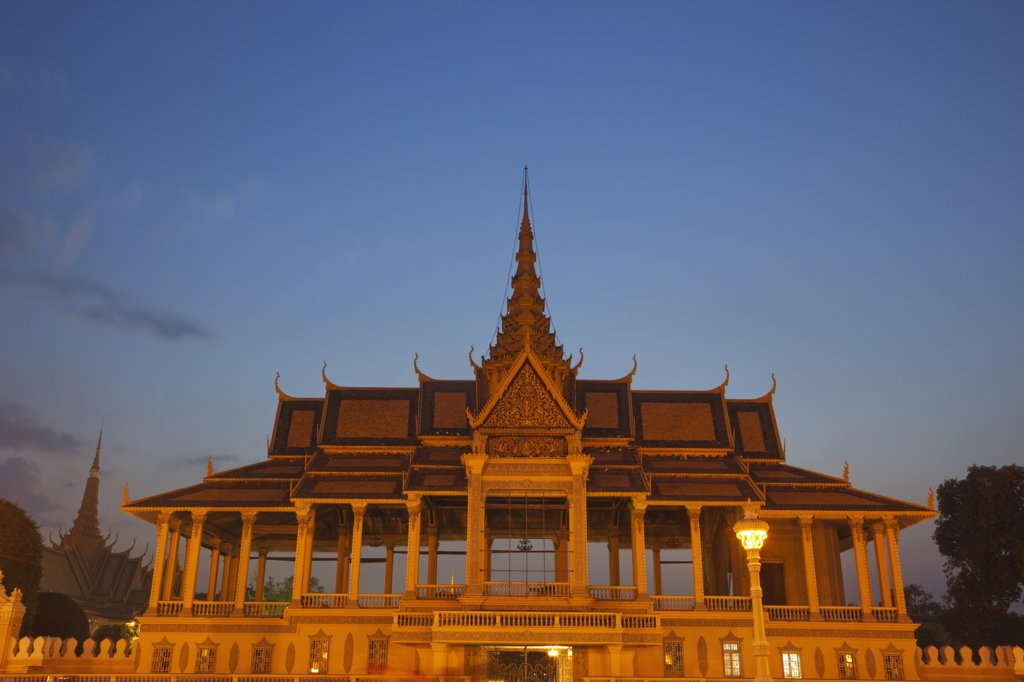 Low angle view of a building, Chan Chaya Pavilion, Royal Palace, Phnom Penh, Cambodia : Stock Photo