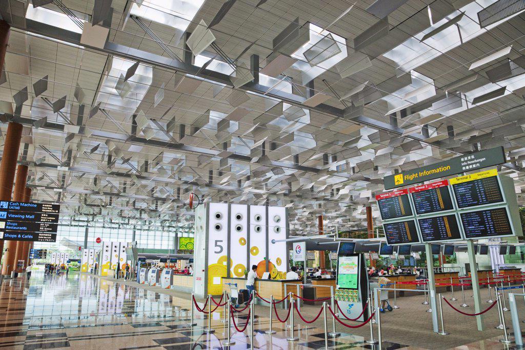 Stock Photo: 442-35573 Interiors of an international airport, Changi International Airport, Singapore
