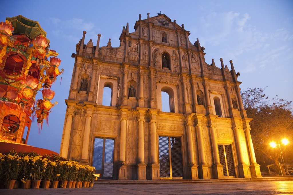 Facade of a church at dusk, Ruins Of St. Paul's, Macao, China : Stock Photo