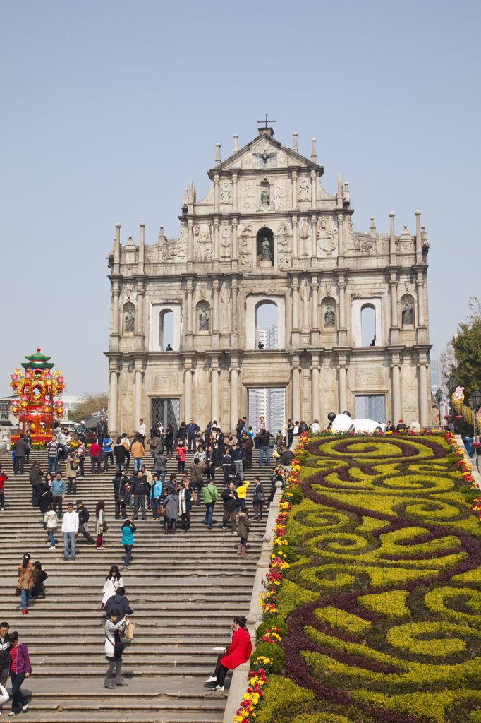 Stock Photo: 442-35584 Tourists at a church, Ruins Of St. Paul's, Macao, China
