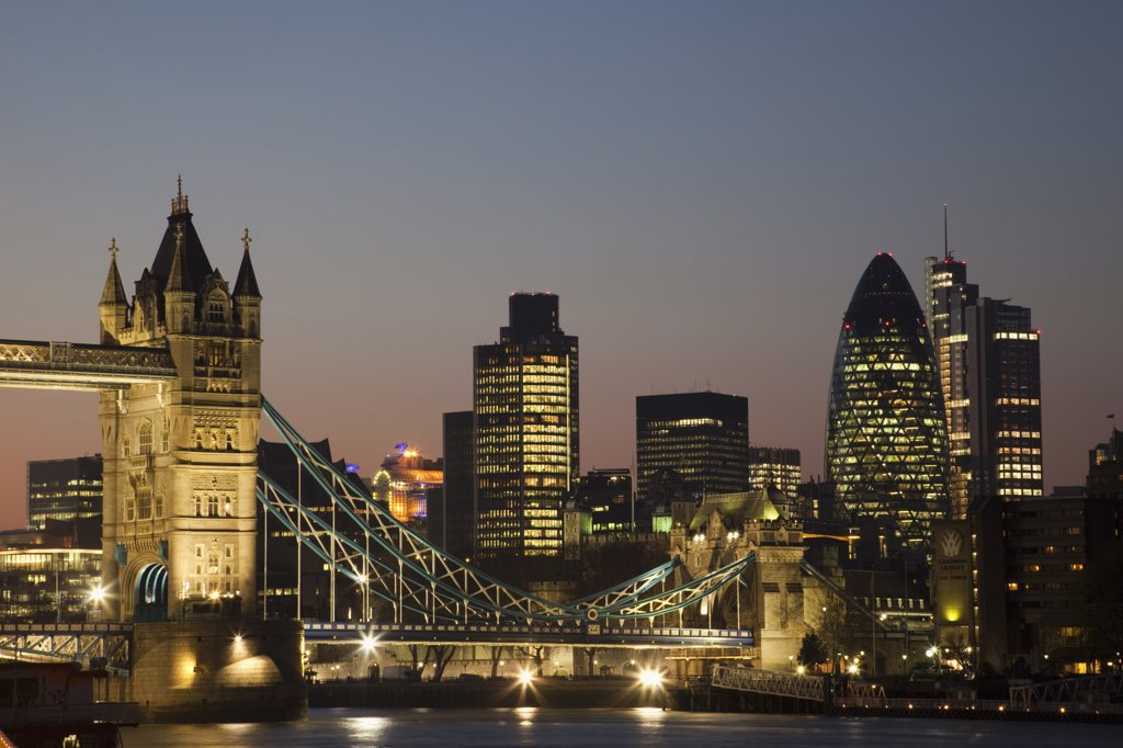 Stock Photo: 442-35639 Bridge with buildings lit up at night, Tower Bridge, Thames River, London, England