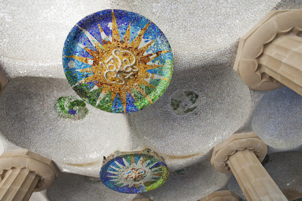 Ceiling detail of the Hall of Columns, Parc Guell, Barcelona, Catalonia, Spain : Stock Photo