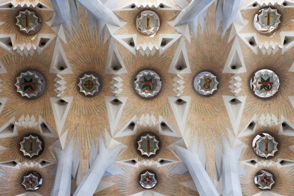 Interiors of a church, Sagrada Familia, Barcelona, Catalonia, Spain : Stock Photo