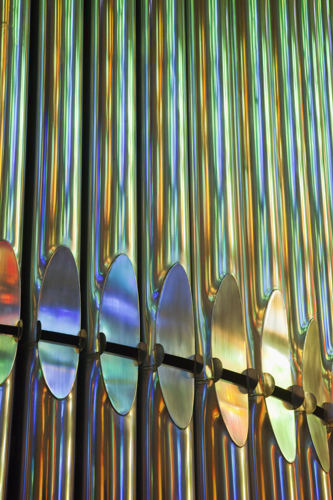 Stock Photo: 442-35753 Details of organ pipes in a church, Sagrada Familia, Barcelona, Catalonia, Spain