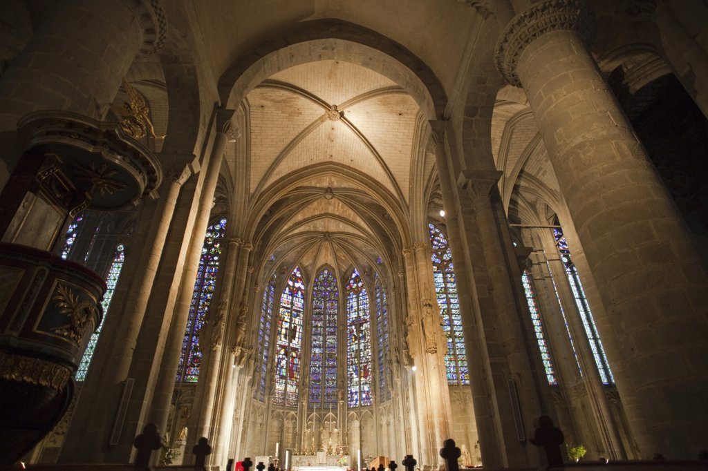 Stock Photo: 442-35814 Interiors of a basilica, Basilica Of St. Nazaire And St. Celse, Carcassonne, Aude, Languedoc-Rousillon, France