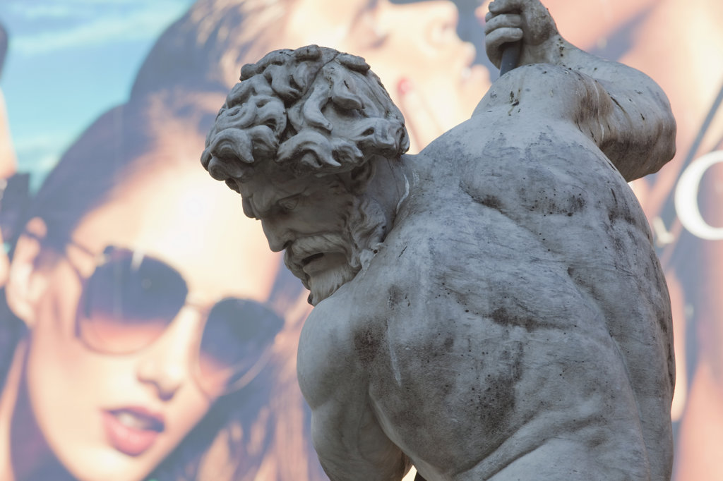 Italy, Rome, Detail of Fountain of Neptune : Stock Photo