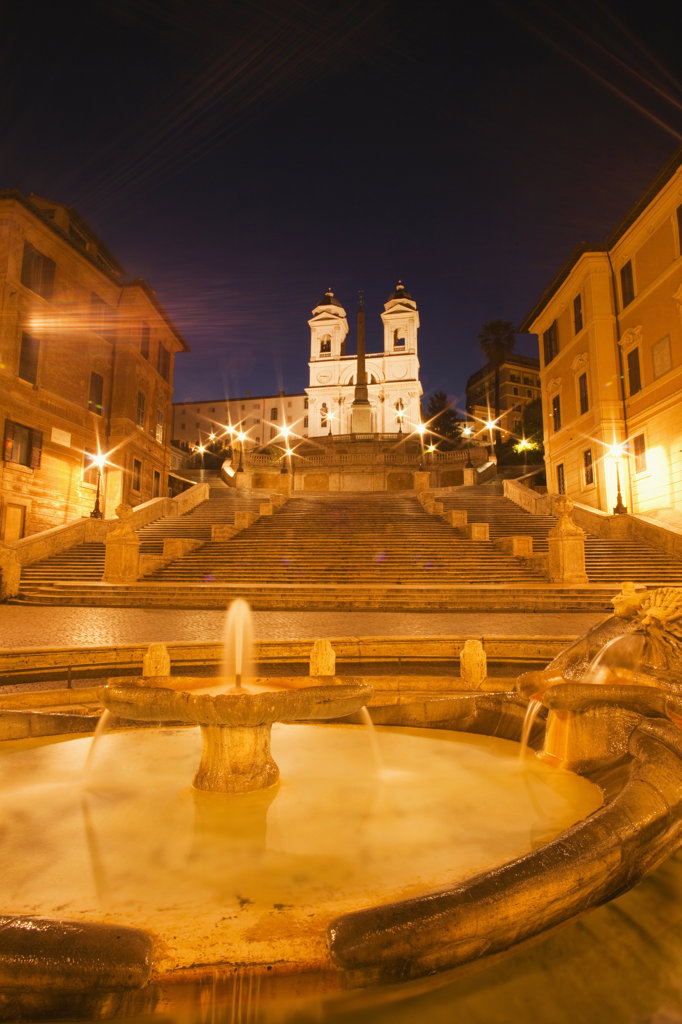Stock Photo: 442-35905 Italy, Rome, Fountain with Spanish Steps and Trinita dei Monti church illuminated at night
