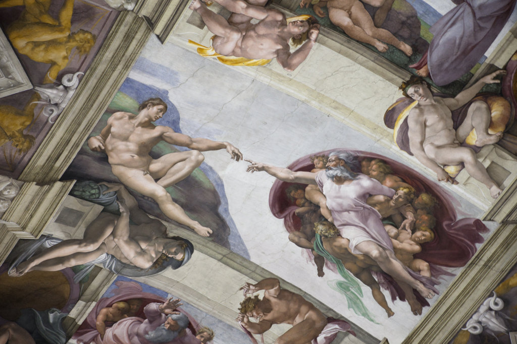 Italy, Rome, Sistine Chapel, Creation of Adam by Michelangelo : Stock Photo
