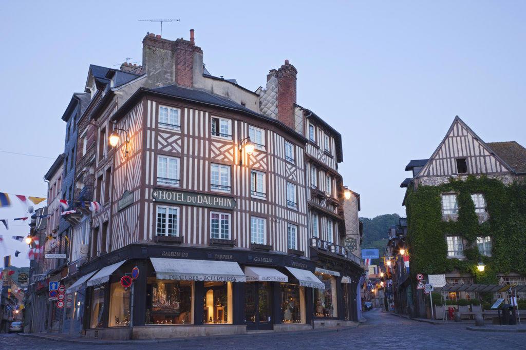 Stock Photo: 442-36036 France, Normandy, Honfleur, Street Scene