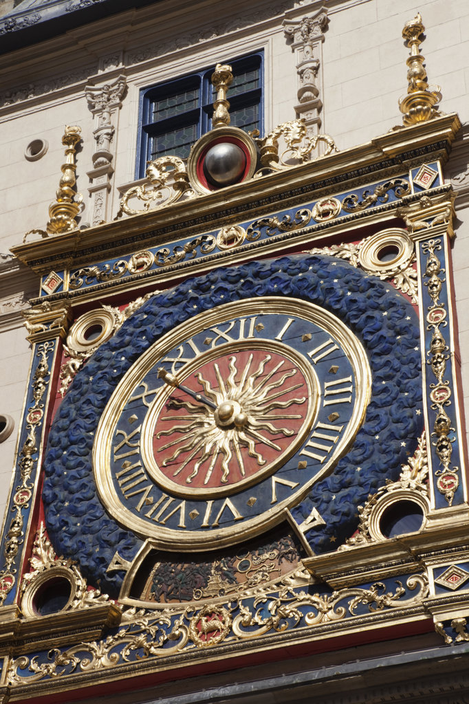 Stock Photo: 442-36047 France, Normandy, Rouen, The Gros Horloge aka The Great Clock detail