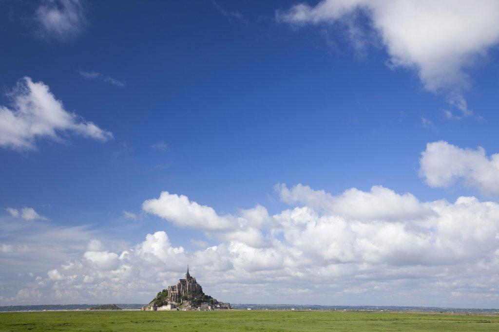 Stock Photo: 442-36064 France, Normandy, Mont St.Michel under blue sky