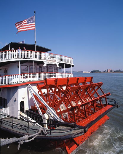 Stock Photo: 442-3622D Paddleboat moored on the dock, Steamboat Natchez, New Orleans, Louisiana, USA