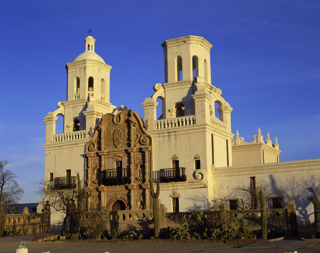 Stock Photo: 442-3623A Facade of a cathedral, Mission San Xavier del Bac, Tucson, Arizona, USA