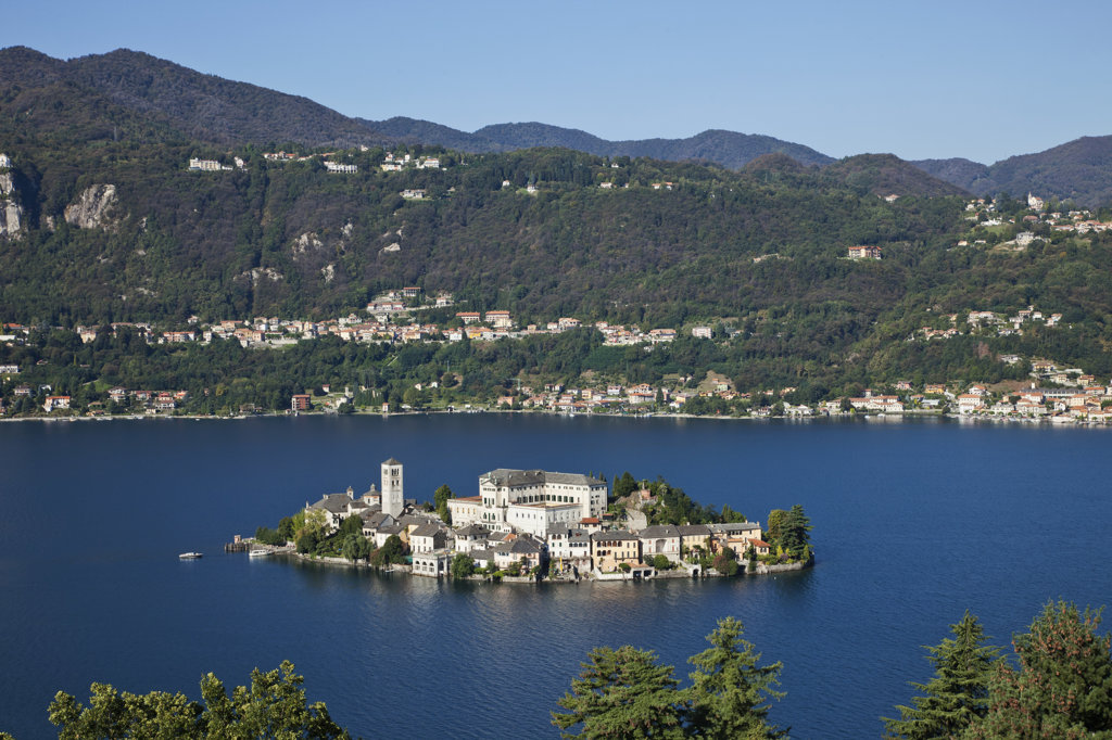 High angle view of a town on an island, San Giulio Island, Lake Orta, Piedmont, Italy : Stock Photo