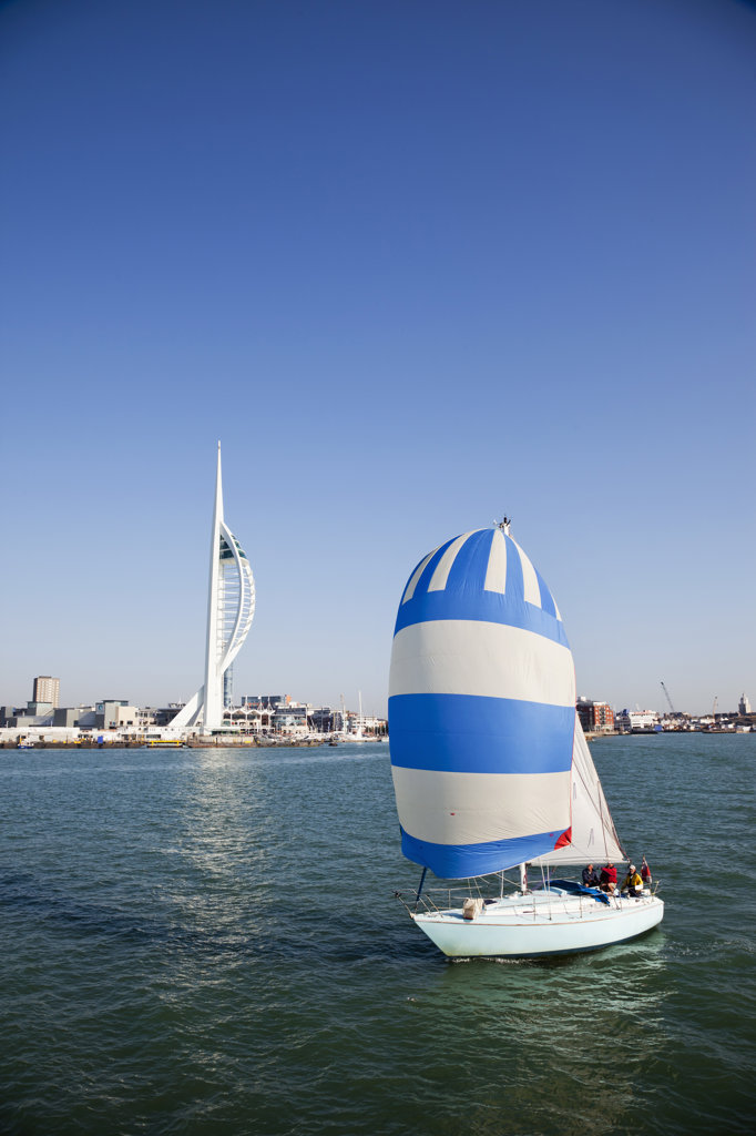 Stock Photo: 442-36286 Yacht with tower in the background, Spinnaker Tower, Portsmouth, Hampshire, England