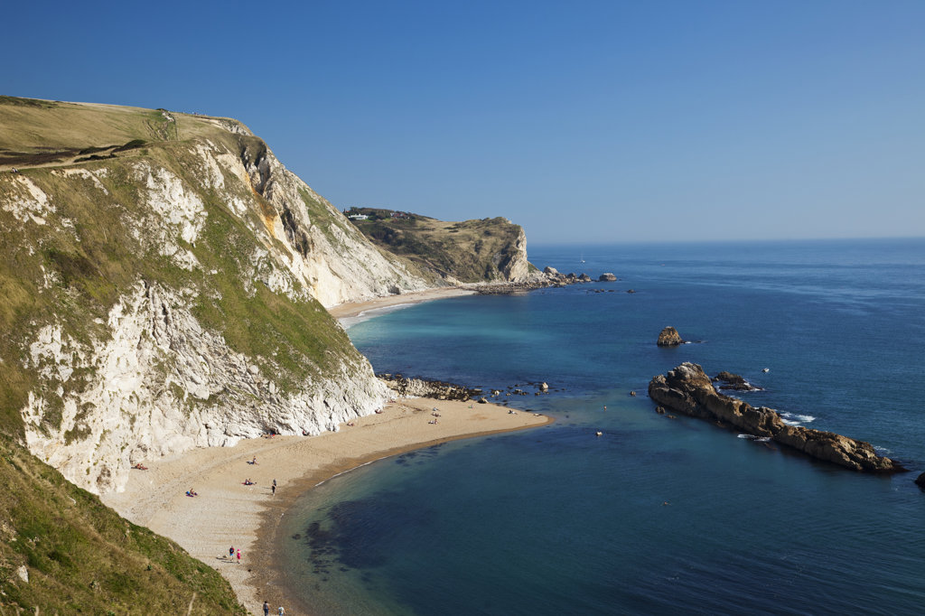 High angle view of the beach, Durdle Door Beach, St.Oswalds Bay, Jurassic Coast, Dorset, England : Stock Photo