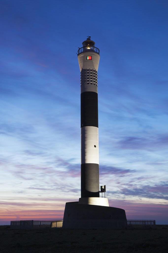 Stock Photo: 442-36341 Lighthouse at dusk, New Lighthouse, Dungeness, Kent, England