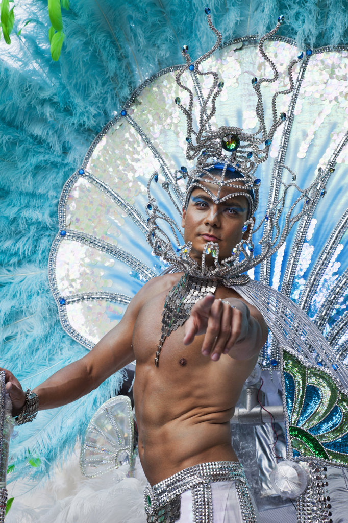 Male performer during the Notting Hill Carnival, Notting Hill, London, England : Stock Photo