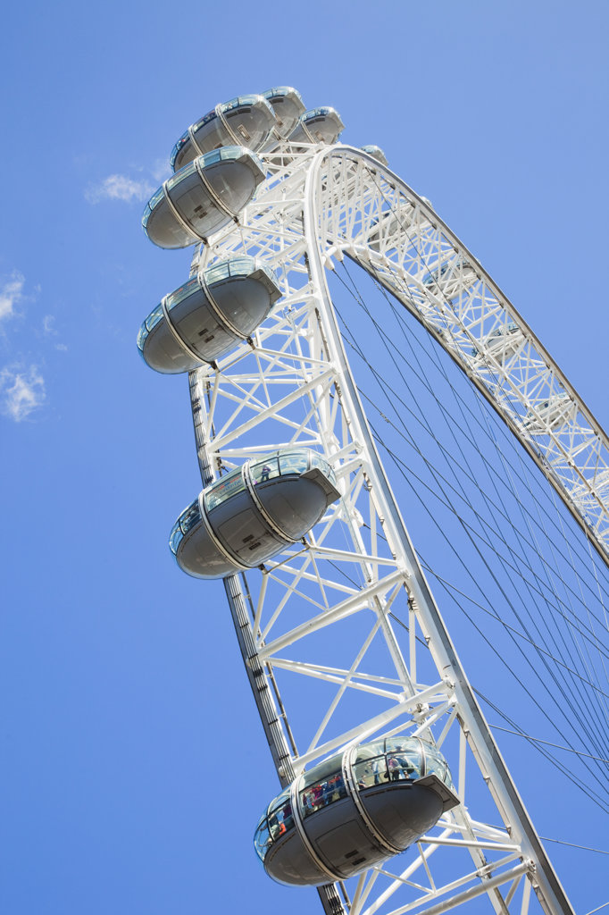 Stock Photo: 442-36390 Low angle view of a ferris wheel, Millennium Wheel, London, England