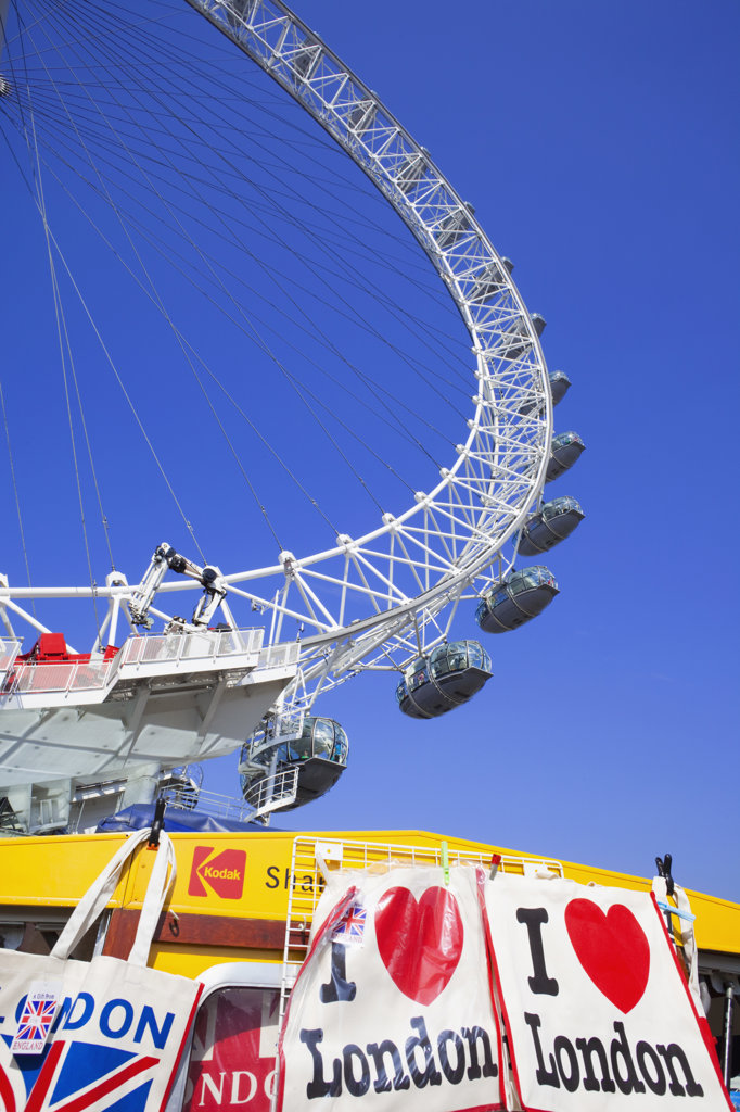Low angle view of a ferris wheel, Millennium Wheel, London, England : Stock Photo