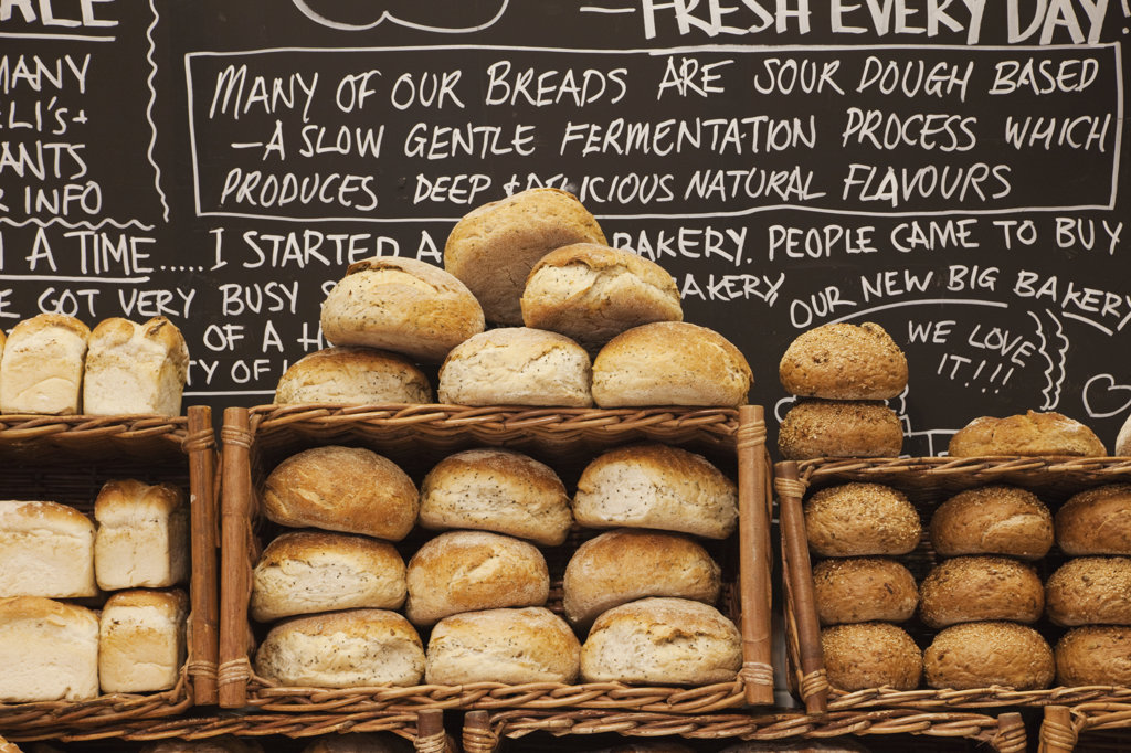 Stock Photo: 442-36406 Breads display at a bakery, Borough Market, Southwark, London, England