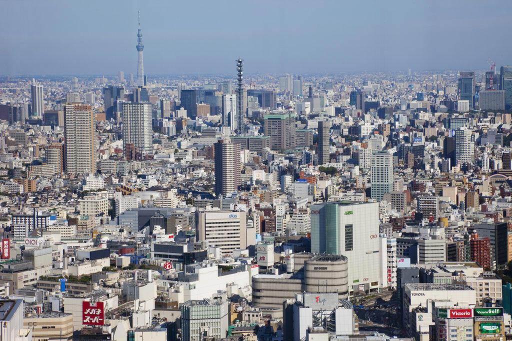 Tokyo skyline view from City Hall, Shinjuku Ward, Tokyo, Japan : Stock Photo