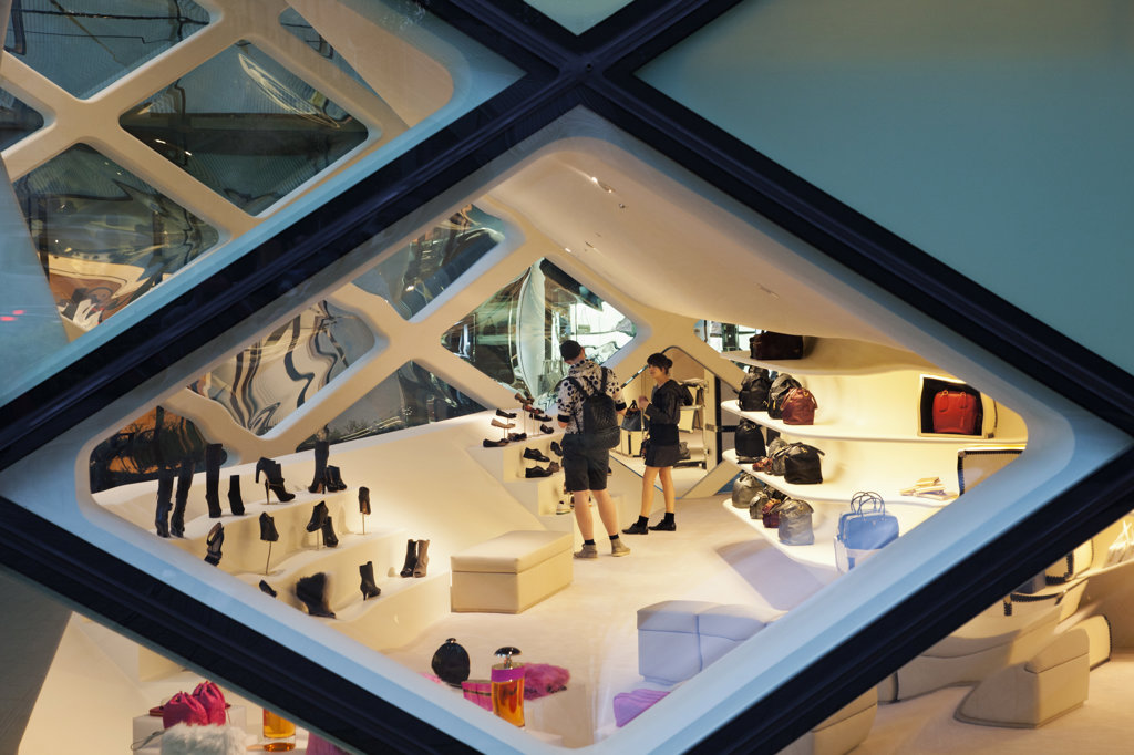 Interiors of the Prada Store in a shopping mall, Minami-Aoyama, Tokyo, Japan : Stock Photo