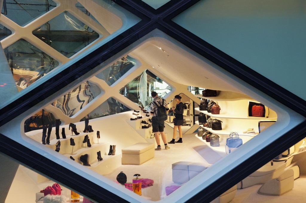Stock Photo: 442-36459 Interiors of the Prada Store in a shopping mall, Minami-Aoyama, Tokyo, Japan