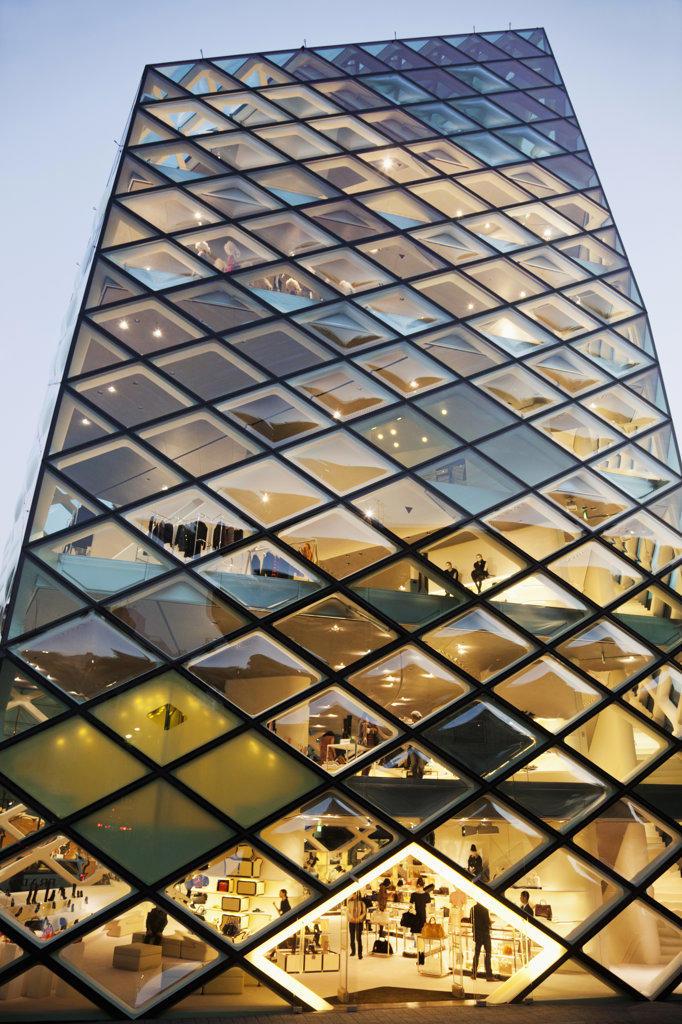 Stock Photo: 442-36464 Architectural details of The Prada Store, Minami-Aoyama, Tokyo, Japan