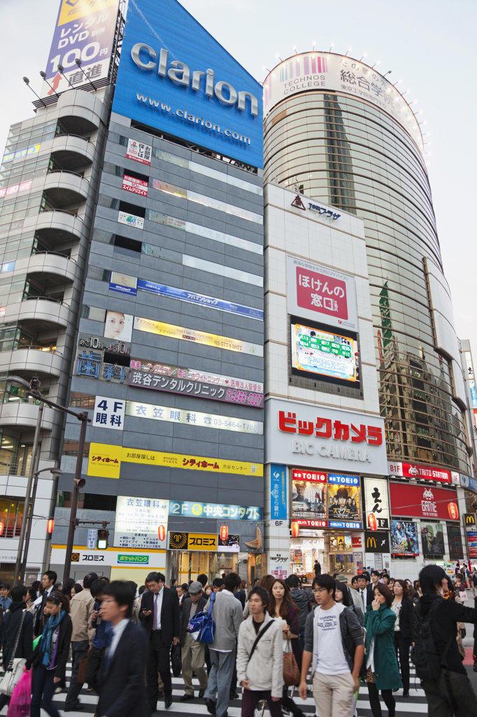 Stock Photo: 442-36545 Tourists walking in a street, Shibuya Ward, Tokyo, Japan