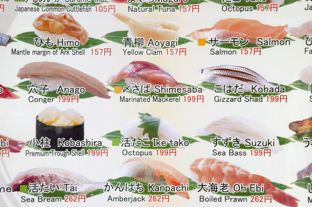 Stock Photo: 442-36647 Sushi shop menu board, Tsukiji Fish Market, Tokyo, Japan