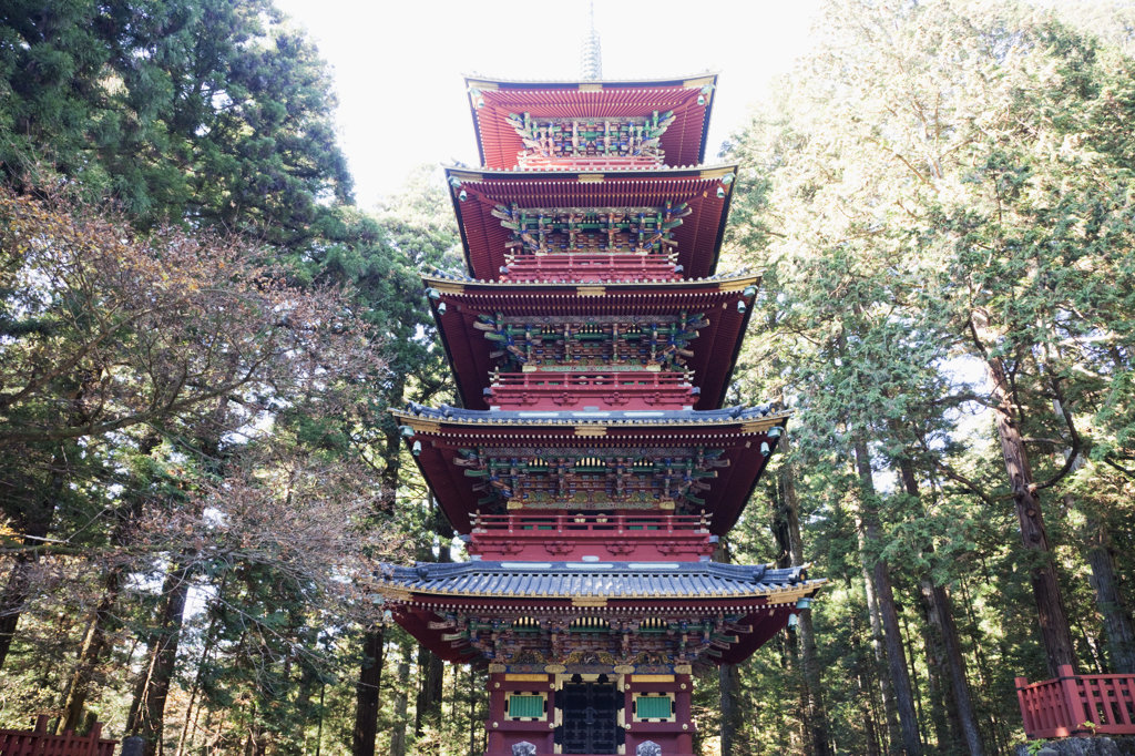 Low angle view of a temple, Toshu-gu Shrine, Nikko, Honshu, Japan : Stock Photo