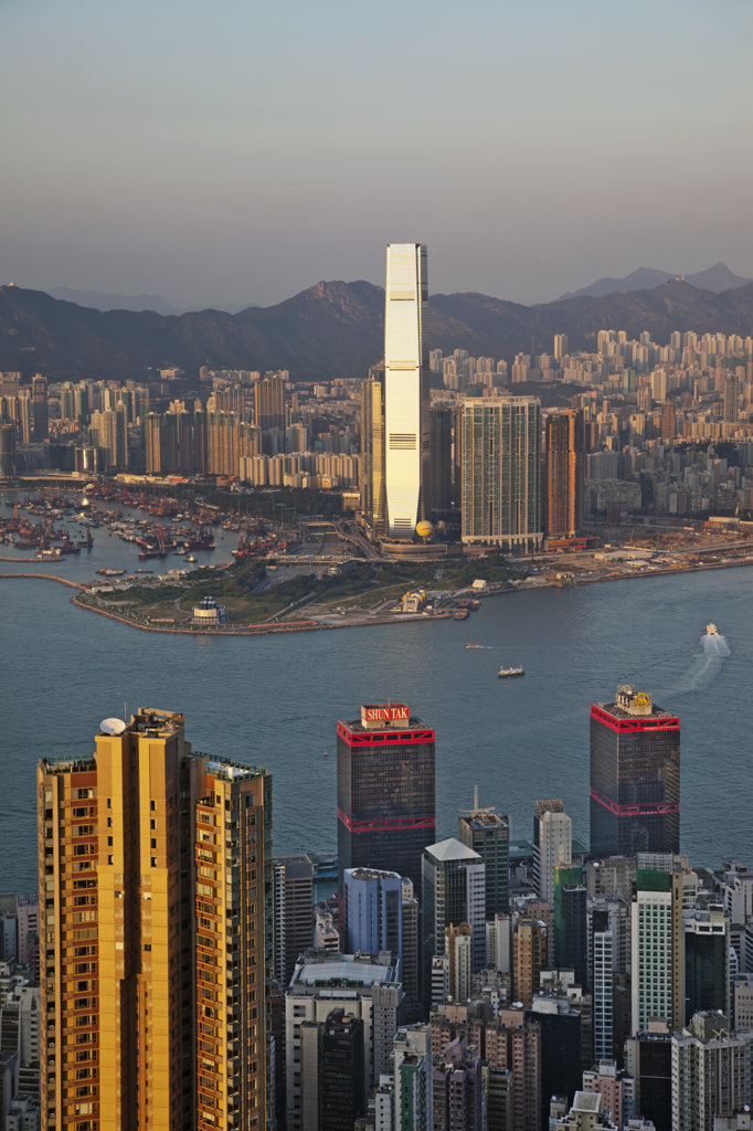 Stock Photo: 442-36690 High angle view of a city, International Commerce Centre, West Kowloon, Hong Kong, China