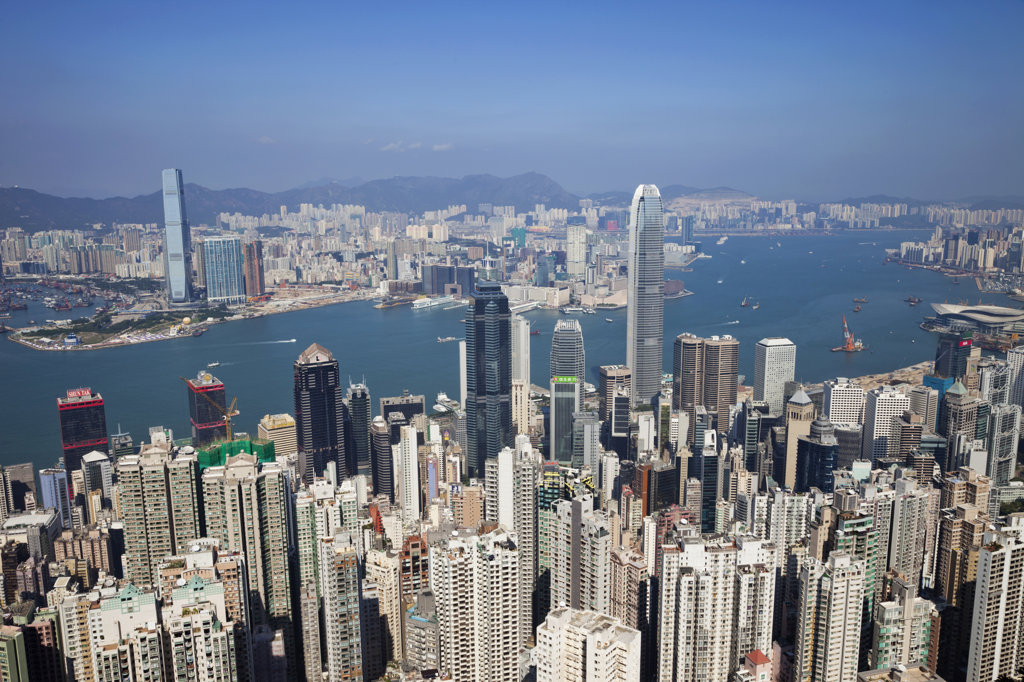 Stock Photo: 442-36696 High angle view of a city, Victoria Peak, Victoria Harbour, Hong Kong, China