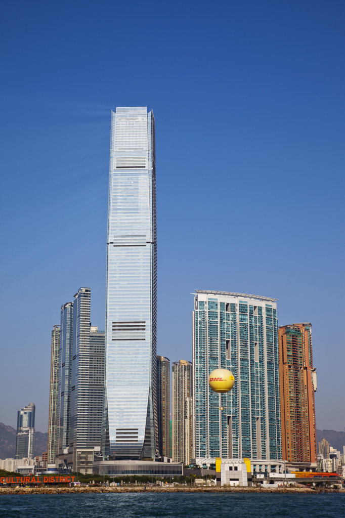Skyscrapers at the waterfront, International Commerce Centre, West Kowloon, Hong Kong, China : Stock Photo