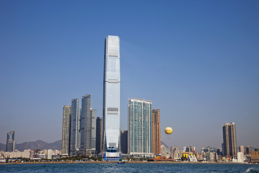 Stock Photo: 442-36703 Skyscrapers at the waterfront, International Commerce Centre, West Kowloon, Hong Kong, China