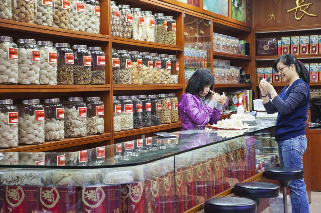 Stock Photo: 442-36713 Dried seafood store, Sheung Wan, Hong Kong, China