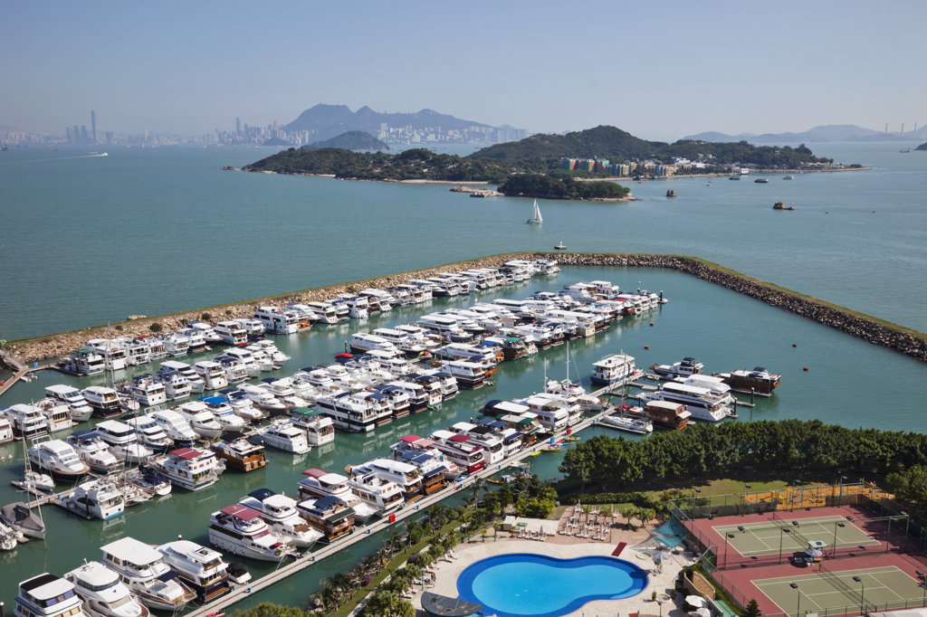 Stock Photo: 442-36727 High angle view of yachts at a marina, Discovery Bay Marina Club, Discovery Bay, Lantau, Hong Kong, China